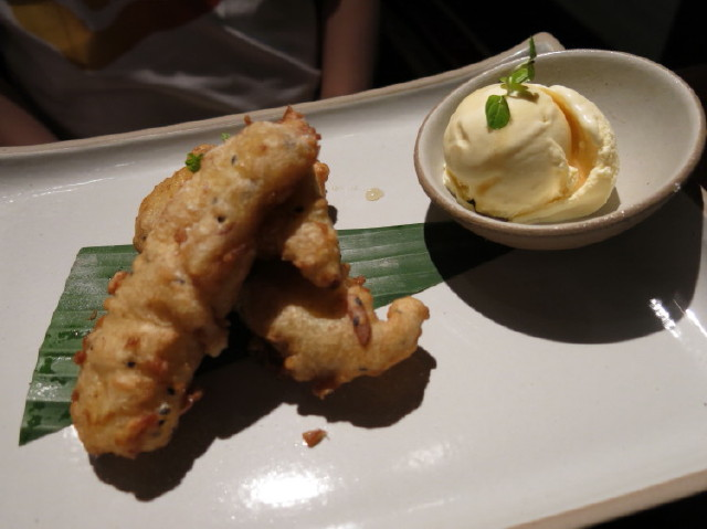dessert - fried banana with honey ice-cream, good!