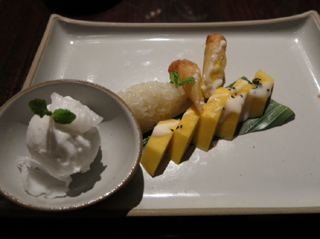 dessert - sticky rice with mango, very good!