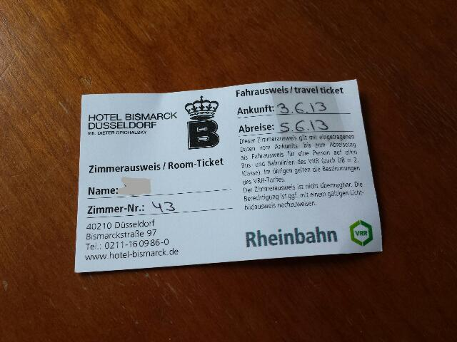 Got a Rheinbahn travel ticket from hotel